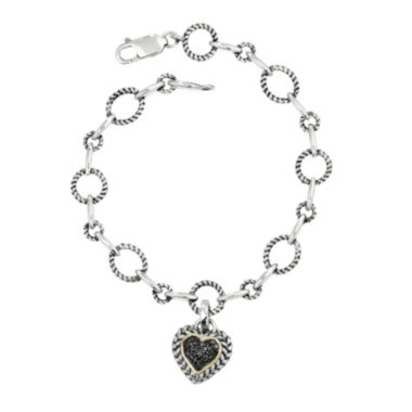 jcpenney.com | Shey Couture 1/4 CT. W.T. Color-Enhanced Black Diamond Sterling Silver Heart Link Bracelet