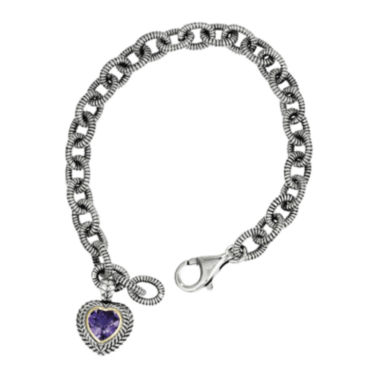 jcpenney.com | Shey Couture Sterling Silver Genuine Amethyst Heart Link Bracelet