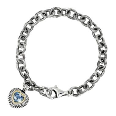jcpenney.com | Shey Couture Genuine Swiss Blue Topaz Sterling Silver and 14K Yellow Gold Heart Bracelet