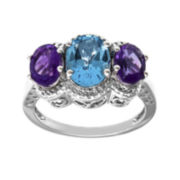 Genuine Blue Topaz, Amethyst and Diamond-Accent Sterling Silver Ring