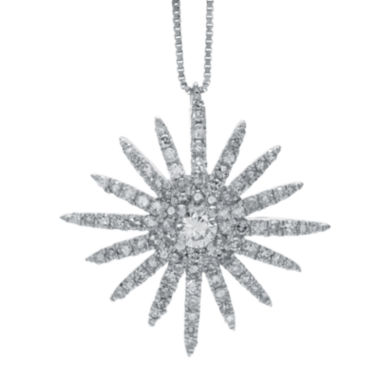 jcpenney.com | 5/8 CT. T.W. Diamond 14K White Gold Starburst Pendant Necklace