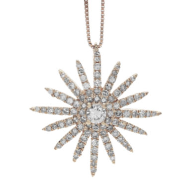 jcpenney.com | 5/8 CT. T.W. Diamond 14K Rose Gold Starburst Pendant Necklace