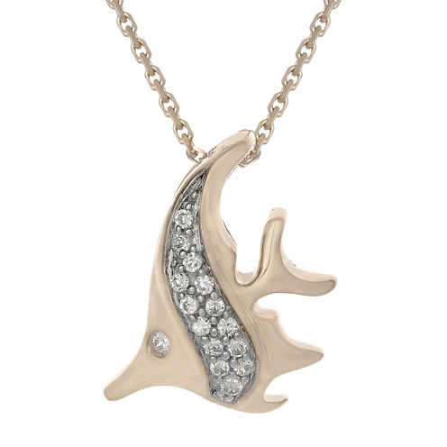 Diamond-Accent 10K Rose Gold Angelfish Mini Pendant Necklace