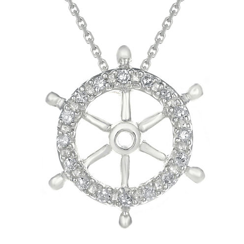 Diamond-Accent 10K White Gold Ship Wheel Mini Pendant Necklace