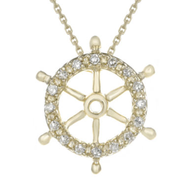 jcpenney.com | Diamond-Accent 10K Yellow Gold Ship Wheel Mini Pendant Necklace