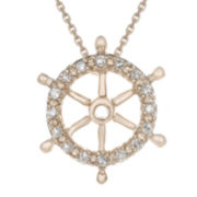 Diamond-Accent 10K Rose Gold Ship Wheel Mini Pendant Necklace