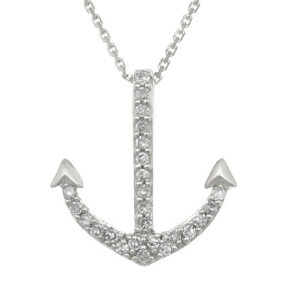 Diamond accent 10k white gold anchor mini pendant necklace jcpenney diamond accent 10k white gold anchor mini pendant necklace aloadofball Images