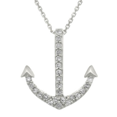 jcpenney.com | Diamond-Accent 10K White Gold Anchor Mini Pendant Necklace