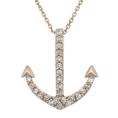 Diamond-Accent 10K Rose Gold Anchor Mini Pendant Necklace
