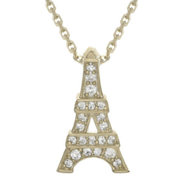 jcpenney.com | Diamond-Accent 10K Yellow Gold Eiffel Tower Mini Pendant Necklace