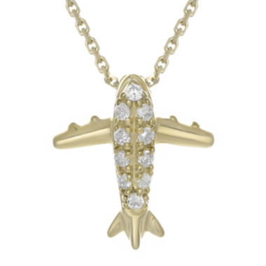 jcpenney.com | Diamond-Accent 10K Yellow Gold Airplane Mini Pendant Necklace