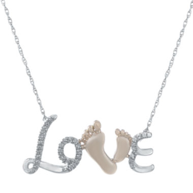 jcpenney.com | 1/10 CT. T.W. Heat-Treated Diamond 10K White and Rose Gold Love Pendant Necklace