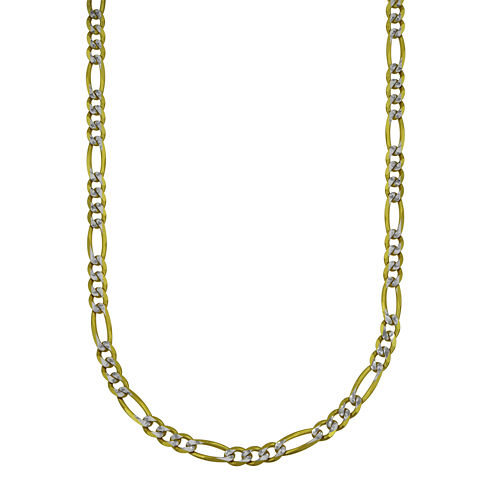 "LIMITED QUANTITIES! 10k Gold Two-tone Hollow Figaro 18"" Chain Necklace"