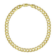 """10K Yellow Gold 9"""" Hollow Curb Chain Bracelet"""