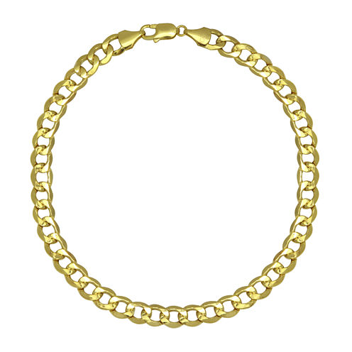 "LIMITED QUANTITIES! 10k Yellow Gold Hollow Curb 9"" Chain Bracelet"