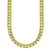 "Mens 10K Yellow Gold 22"" Hollow Curb Chain Necklace"