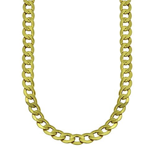 """LIMITED QUANTITIES! 10k Yellow Gold Hollow Curb 22"""" Chain Necklace"""