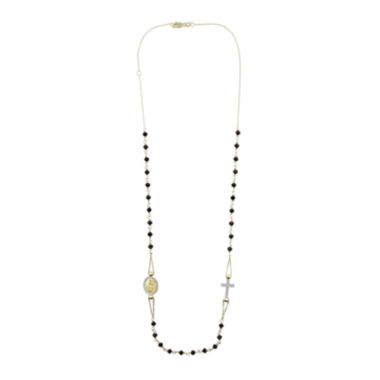 jcpenney.com | Rene Bargueiras® Black Crystal 14K Yellow Gold Rosary Necklace