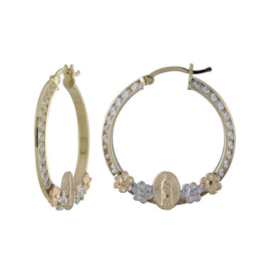 jcpenney.com | Rene Bargueiras® Cubic Zirconia 14K Tricolor Gold Guadalupe 25mm Hoop Earrings