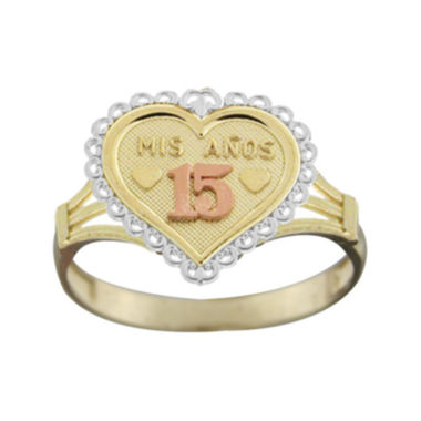 jcpenney.com | Rene Bargueiras® 14K Tricolor Gold Mis 15 Años Ring