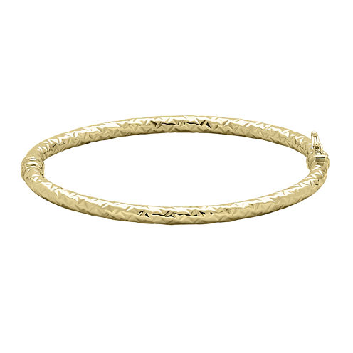 Made in Italy 14K Yellow Gold Textured Hinged Tube Bangle Bracelet