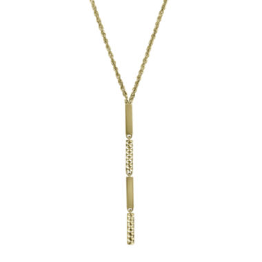 jcpenney.com | 14K Yellow Gold Diamond-Cut Striped Lariat Necklace