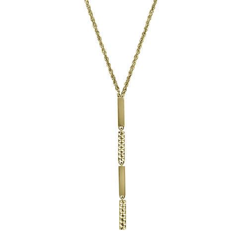 14K Yellow Gold Diamond-Cut Striped Lariat Necklace