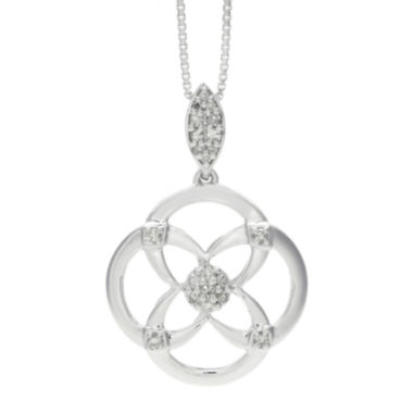 jcpenney.com | 1/10 CT. T.W. Diamond Sterling Silver Flower Pendant Necklace
