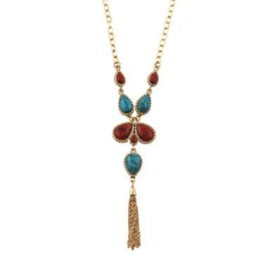 jcpenney.com | Art Smith by BARSE Howlite and Red Sponge Coral Tassel Necklace