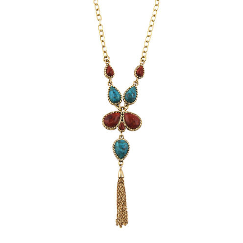 Art Smith by BARSE Howlite and Red Sponge Coral Tassel Necklace