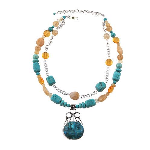 Art Smith by BARSE Multi-Stone Two-Tone Pendant Necklace