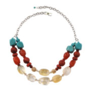 Art Smith by BARSE Multi-Stone Gold Over Brass Necklace