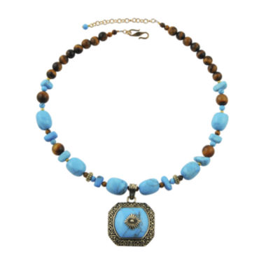 jcpenney.com | Art Smith by BARSE Tiger's Eye and Howlite Brass Pendant Necklace