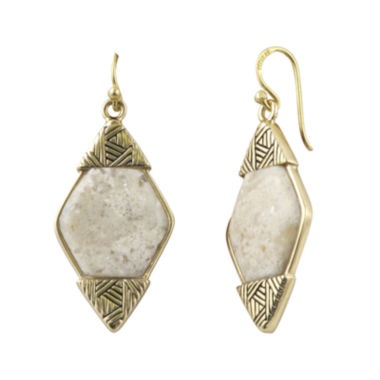 jcpenney.com | Art Smith by BARSE Lab-Created African Opal Brass Drop Earrings