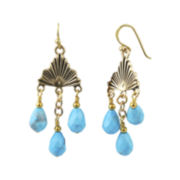 Art Smith by BARSE Blue Howlite Brass Chandelier Earrings