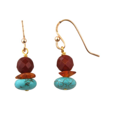 jcpenney.com | Art Smith by BARSE Brass Turquoise, Amber and Carnelian Drop Earrings