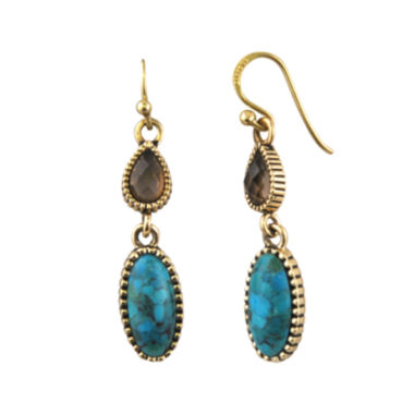 jcpenney.com | Art Smith by BARSE Brass Turquoise and Smoky Quartz Drop Earrings