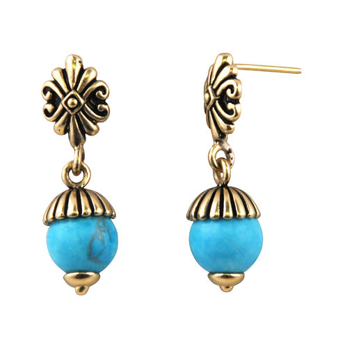 Art Smith by BARSE Brass and Turquoise Post Earrings