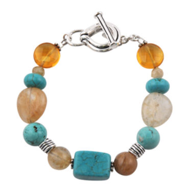 jcpenney.com | Art Smith by BARSE Multi-Stone Brass Toggle Bracelet