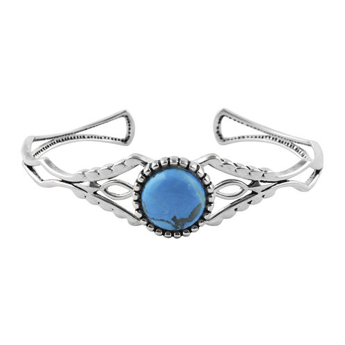 Art Smith by BARSE Blue Howlite Silver Over Brass Cuff Bracelet