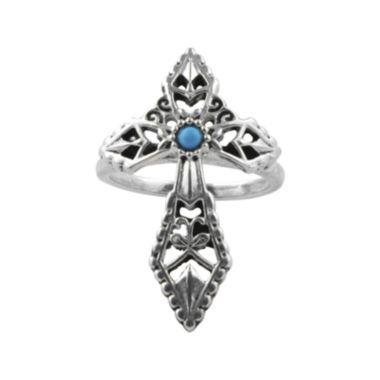 jcpenney.com | Art Smith by BARSE Genuine Turquoise Silver Over Brass Cross Ring
