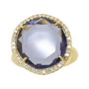 ATHRA Purple Stone Crystal Cocktail Ring