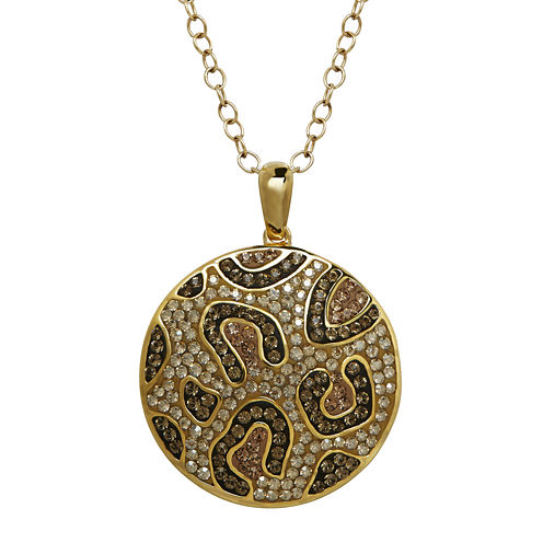 Animal Planet™ Crystal 14K Yellow Gold Over Silver Endangered Amur Leopard Pendant Necklace