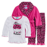 Bunz Kids 3-pc. Pink Cat Pajamas and Robe - Girls 7-12