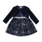 Youngland® Sleeveless Flower Sparkle Dress and Cardigan - Toddler Girls 2t-4t