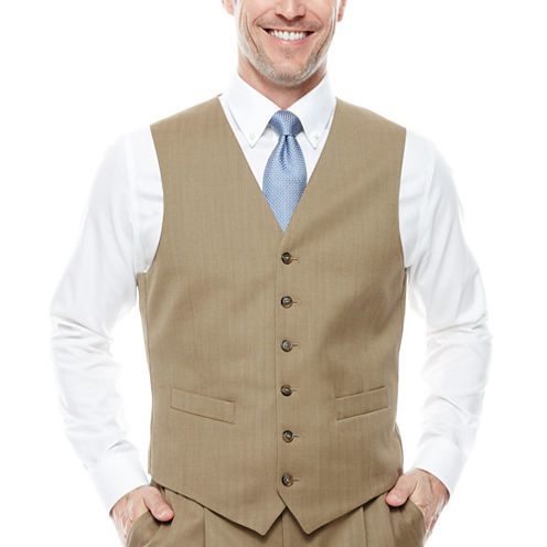 Stafford® Travel Tan Herringbone Suit Vest - Classic Fit