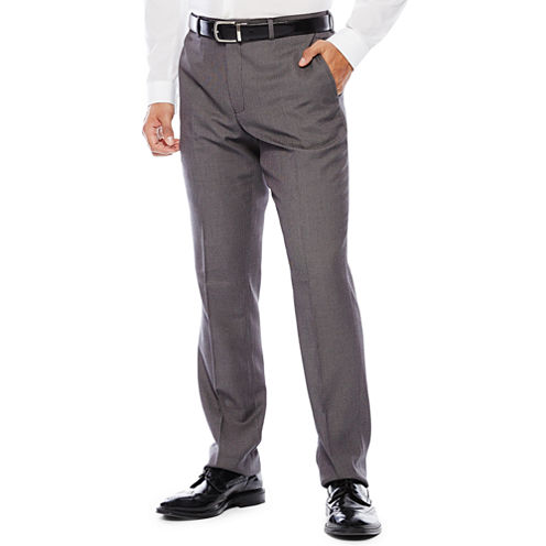 Savile Row® Birdseye Flat-Front Suit Pants - Slim Fit
