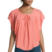 by&by Short-Sleeve Lace-Shoulder Circle Top