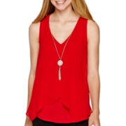 by&by Layered-Front Necklace Tank Top