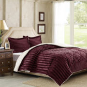 Lennox Dobby Striped Faux Mink Reversible Comforter Mini Set